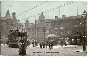 Edwardian-1905-Market-Square-Huddersfield-Postcard